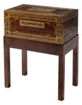 Furniture, An English Brass Inlaid Lap Desk on Wood Stand. 28-1/2 x 22 x 13-1/2 inches (72.4 x 55.9 x 34.3 cm). ...