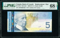 World Currency, Canada Bank of Canada $5 2008 BC-67bA Replacement PMG Superb Gem Unc 68 EPQ.. ...