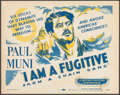 "Movie Posters:Film Noir, I Am a Fugitive from a Chain Gang (Dominant, R-1956). Very Fine-. Title Lobby Card (11"" X 14""). Film Noir.. ..."