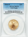 Modern Bullion Coins, 2008-W $10 Quarter-Ounce Gold Eagle, Burnished, MS70 PCGS. PCGS Population: (1204). NGC Census: (1409). CDN: $1,540 Whsle. ...