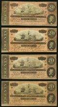 Confederate Notes:1864 Issues, T67 $20 1864 Four Examples Fine-Very Fine or Better.. ... (Total: 4 notes)