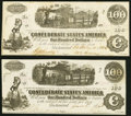Confederate Notes:1862 Issues, T40 $100 1862 PF-1 Cr. 298 About Uncirculated;. T40 $100 1863 PF-20 Cr. 308 Extremely Fine-About Uncirculated.. ... (Total: 2 notes)
