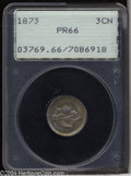 Proof Three Cent Nickels: , 1873 3CN Closed 3 PR66 PCGS. Deeply reflective proof ...