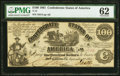 Confederate Notes:1861 Issues, T13 $100 1861 PF-4 State II Cr. 56 PMG Uncirculated 62.. ...