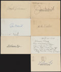 Autographs:Post Cards, Baseball Hall of Famers Signed Post Cards, Lot of 7....