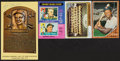 Autographs:Sports Cards, 1962-75 Topps & Yellow HOF Plaque Postcard Signed Collection (4)....