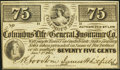 Obsoletes By State:Mississippi, Columbus, MS- Columbus Life and General Insurance Co. 75¢ Jan. 1, 1864 Crisp Uncirculated.. ...