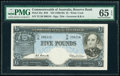 World Currency, Australia Reserve Bank of Australia 5 Pounds ND (1960-65) Pick 35a R50 PMG Gem Uncirculated 65 EPQ.. ...