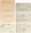 Football Collectibles:Others, 1957 Vince Lombardi Handwritten Plays & Folder Lot of 5. ...