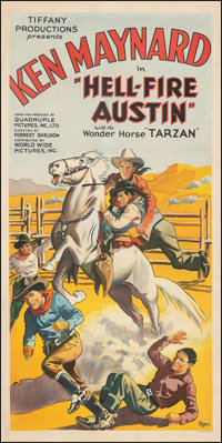 "Hell-Fire Austin (Tiffany, 1932). Good/Very Good on Linen. Three Sheet (41"" X 80.75""). Western"