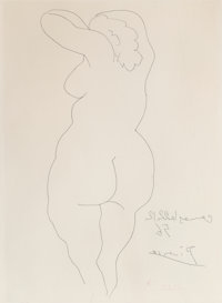 Pablo Picasso (1881-1973) Femme vue de dos, 1956 Etching on wove paper 19 x 14-1/4 inches (48.3 x