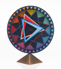 Collectible, Yaacov Agam (b. 1928). Clock, from Rainbow Series, 1989. Clock with base. 7-1/2 x 6-1/2 inches (19.1 x 16.5 cm) (clo... (Total: 2 Items)