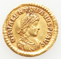 Ancients:Roman Imperial, Ancients: Valentinian II, Western Roman Empire (AD 375-392). AV solidus (21mm, 4.39 gm, 6h). Choice VF, holed, plugged. ...