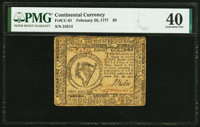 Continental Currency February 26, 1777 $8 PMG Extremely Fine 40