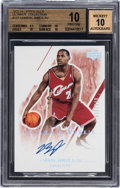 Basketball Cards:Singles (1980-Now), 2003-04 Upper Deck Ultimate Collection LeBron James #127 Signed Rookie Card (#005/250) BGS Pristine 10 & Autograph 10....