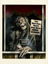 """Creepshow by Joann Daley (Warner Bros., 1982). Fine. Signed Original Mixed Media Poster Artwork on Paper (15"""" X 20&..."""