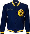 Basketball Collectibles:Uniforms, 1981-84 John Wooden Worn & Signed UCLA Bruins Staff Jacket, MEARS Authentic....