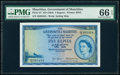 Mauritius Government of Mauritius 5 Rupees ND (1954) Pick 27 PMG Gem Uncirculated 66 EPQ