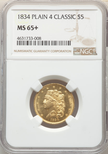 1834 $5 PLAIN 4, MS NGC Plus 65 NGC