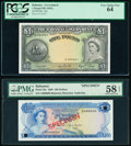 World Currency, Bahamas Bahamas Government 1 Pound ND (1953) Pick 15d PCGS Very Choice New 64;. Monetary Authority 100 Dollars 1968 Pick... (Total: 2 notes)