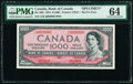 """World Currency, Canada Bank of Canada $1000 1954 BC-36S """"Devil's Face"""" Specimen PMG Choice Uncirculated 64.. ..."""