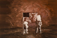 Xiao Bo (Chinese, b. 1975) Moon Landing, 2008 Oil on canvas 47 x 70 inches (119.4 x 177.8 cm) Initialed and dated on