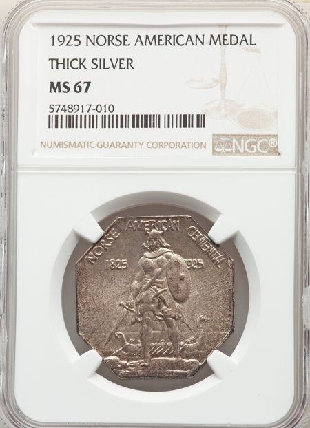 1925 Medal Norse Thick Planchet, MS 67 NGC