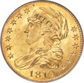 Early Half Eagles, 1810 $5 Large Date, Large 5, BD-4, R.2, MS65 PCGS....