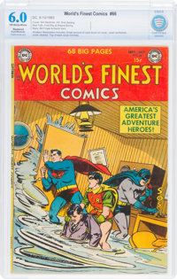 World's Finest Comics #66 (DC, 1953) CBCS Restored FN 6.0 Slight/Moderate Off-white to white pages