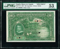 World Currency, Angola Banco De Angola 100 Angolares 1.6.1927 Pick 75s Specimen PMG About Uncirculated 53.. ...