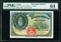 World Currency, Angola Banco Nacional Ultramarino 2500 Reis 1.3.1909 Pick 30sp Specimen Proof PMG Choice Uncirculated 64.. ...