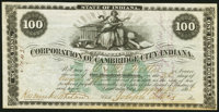 Cambridge City, IN- Corporation of Cambridge City, Indiana $100 Aug. 28, 1868 Bond Very Fine-Extremely Fine