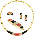 Estate Jewelry:Suites, Coral, Black Onyx, Diamond, Gold Jewelry Suite. ... (Total: 4 Items)
