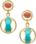 Estate Jewelry:Earrings, Turquoise, Coral, Diamond, Gold Earrings, Aletto Brothers . ...
