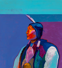 John Nieto (American, 1936-2018) Cheyenne, 1993 Acrylic on canvas 44 x 40 inches (111.8 x 101.6 c