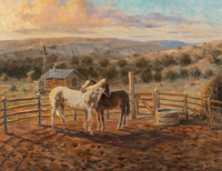 American School (20th Century) Corral at Sunset Oil on canvas 18 x 24 inches (45.7 x 61.0 cm) Signed indistinctly lo