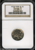 Proof Buffalo Nickels: , 1913 5C Type Two PR66 NGC. Exquisitely struck, with ...