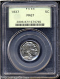 Proof Buffalo Nickels: , 1937 5C PR67 PCGS. Apricot and gunmetal-blue colors ...