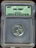 Proof Buffalo Nickels: , 1937 5C PR67 ICG. This lovely and brilliant Proof has ...