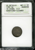 Early Half Dimes: , 1797 H10C 15 Stars--Scratched, Cleaned--ANACS. VF Details, ...