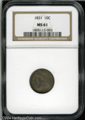 Bust Dimes: , 1831 10C MS61 NGC. JR-3, R.1. Deeply toned throughout, ...