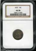 Bust Dimes: , 1833 10C AU58 NGC. JR-9, R.2. A sharply struck and ...