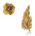 Estate Jewelry:Brooches - Pins, Diamond, Emerald, Gold Brooches . ... (Total: 2 Items)
