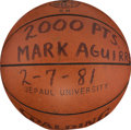 Basketball Collectibles:Balls, 1981 Mark Aguirre Game Used 2,000 NCAA Career Points Presentational DePaul University Basketball....