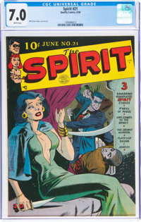The Spirit #21 (Quality, 1950) CGC FN/VF 7.0 White pages