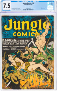 Jungle Comics #36 (Fiction House, 1942) CGC VF- 7.5 Off-white to white pages
