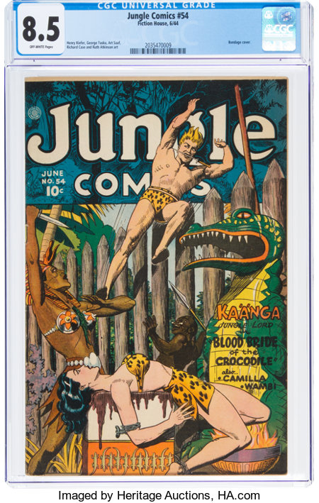 Jungle Comics #54 (Fiction House, 1944) CGC VF+ 8.5 Off-white pages....