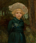 Paintings, Hans Thoma (German, 1839-1924). Portrait of a girl in a green dress. Oil on canvas . 30 x 25-1/8 inches (76.2 x 63.8 cm)...