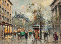 Antoine Blanchard (French, 1910-1988) Rue Madeleine Oil on canvas 13 x 18 inches (33.0 x 45.7 cm)