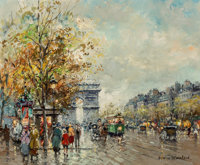 Antoine Blanchard (French, 1910-1988) Arc de Triomphe, Champs-Élysées Oil on canvas 18-1/4 x 22 inches (46...